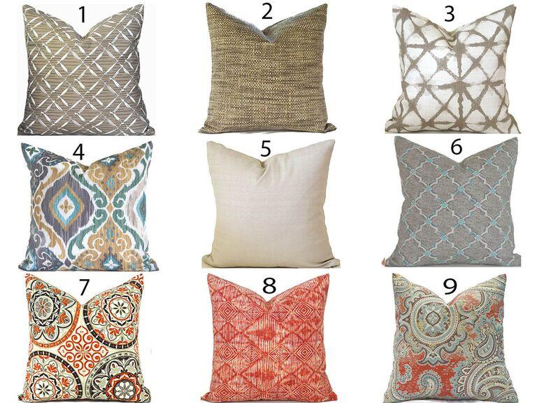 Backyard wedding ideas hay bale throw pillows