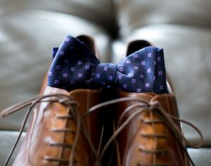 Elegant Brown Wedding Shoes and Navy Hugo Boss Bow Tie