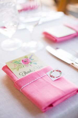 Floral Thank You Notes and Pink Linens
