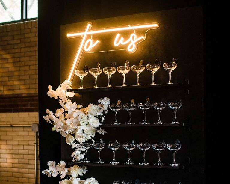 champagne escort display wall coupe glasses neon sign wedding reception anniversary party