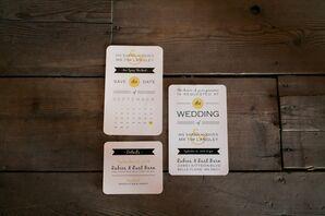DIY Black and Yellow Wedding Invitations