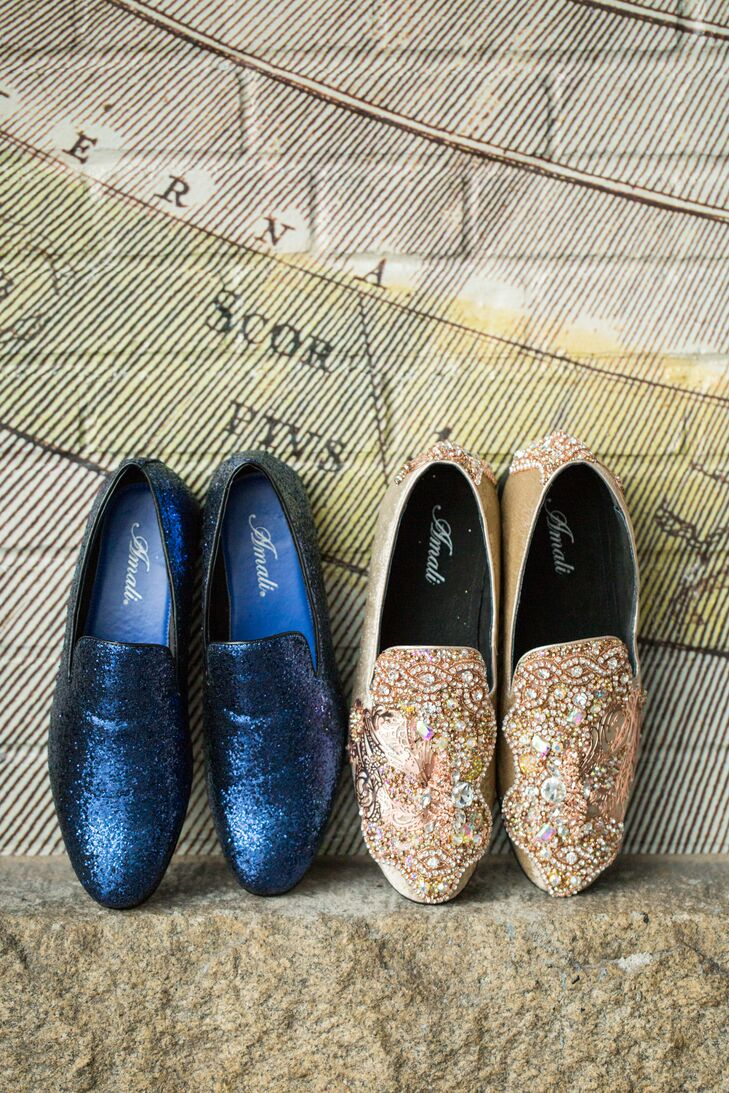 Glam Blue and Pink Slip-On Shoes