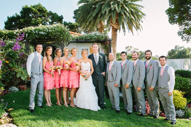 Gray and Coral Wedding Party