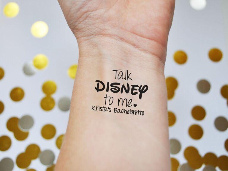 Disney sunglasses and temporary tattoos for bachelorette party