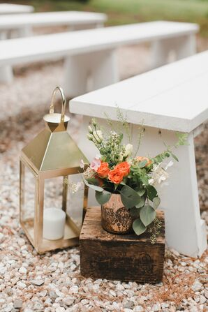 Gold Lantern and Eucalyptus Aisle Decorations