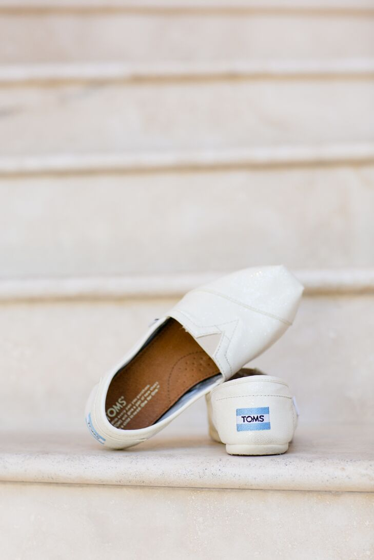 Ivory and Shimmer TOMS Wedding Shoes