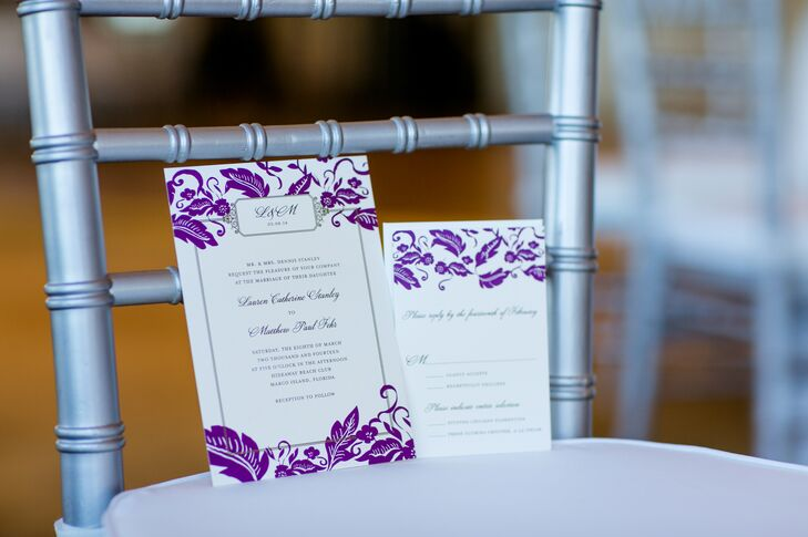 Purple and White Stationery with Floral Design