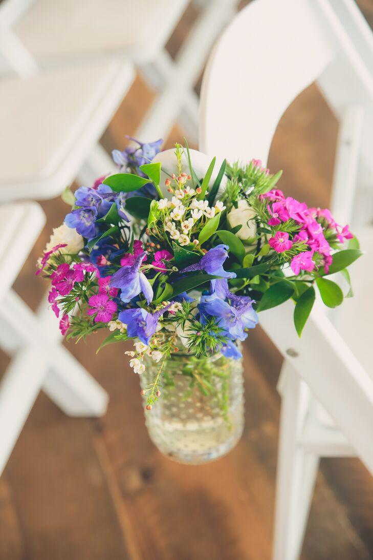 Purple, Lavender and Ivory Mason Jar Aisle Decor