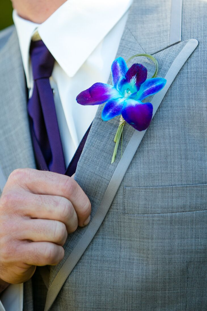 Purple and Blue Orchid Groomsmen Boutonnieres
