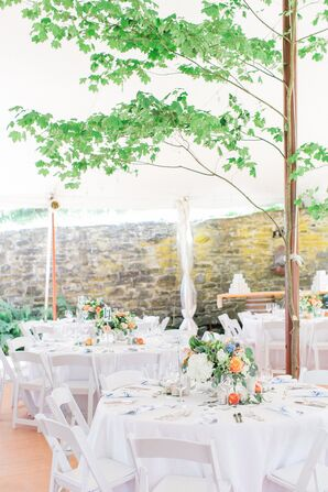 Bright, Rustic Reception Space with Trees and Summery Centerpieces
