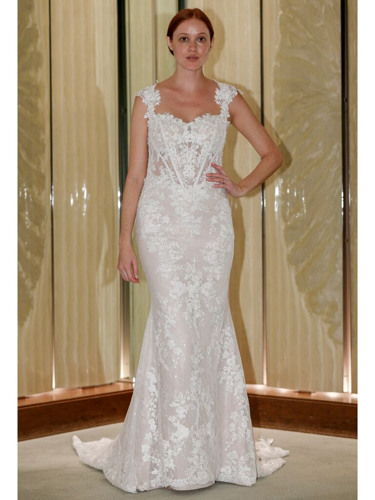 Randy Fenoli Fall 2019 Bridal Collection trumpet wedding dress with scalloped sleeves
