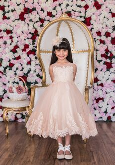 Kid's Dream Lace Applique Illusion Bateau Dress Ivory,Pink,White Flower Girl Dress