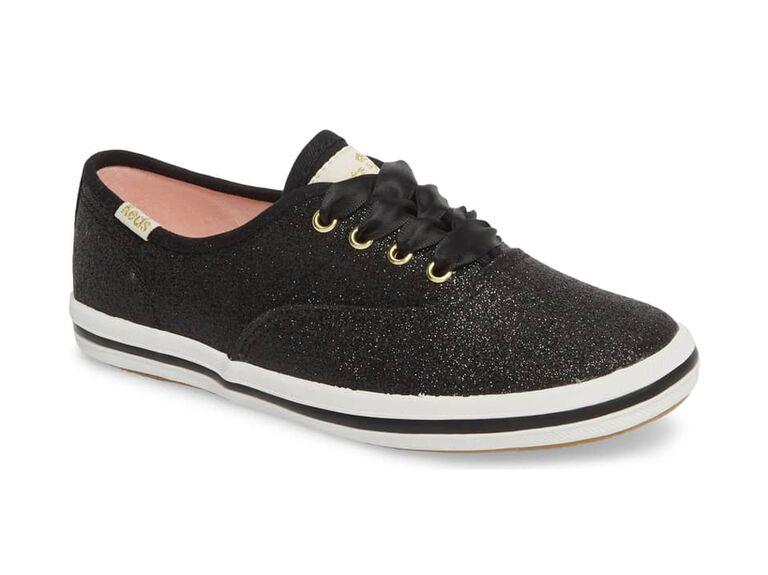 Sparkly black flower girl shoes