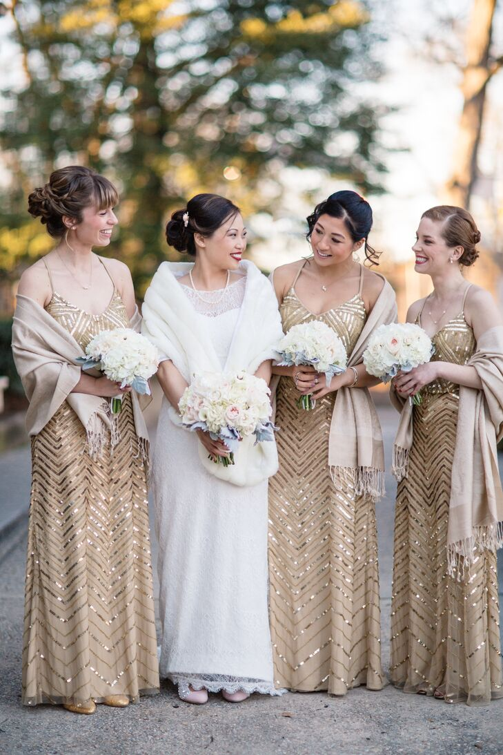 Gold Sequin Adrianna Papell Bridesmaid Dresses