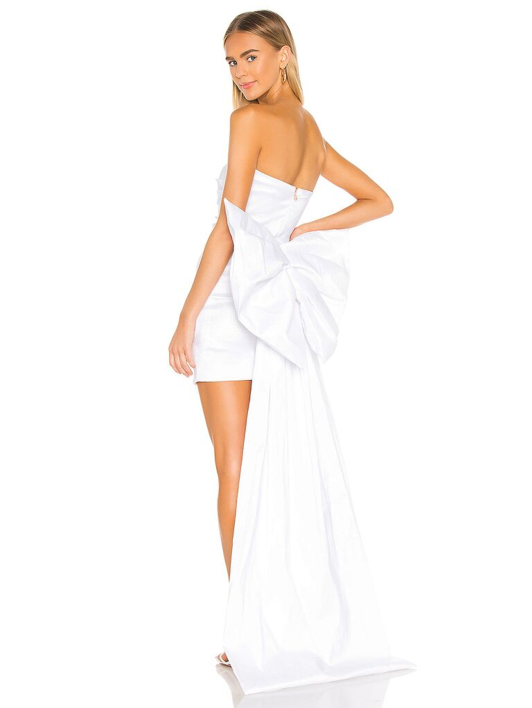 White strapless mini dress with bow on back
