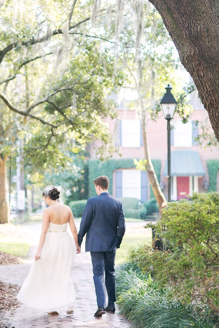 """Following their intimate ceremony, Megan and Ron hosted a small dinner at Cha Bella complete with a pistachio cake shipped from Momofuku Milk Bar in New York. """"The restaurant is lovely and has amazing farm-to-table food,"""" says Megan."""