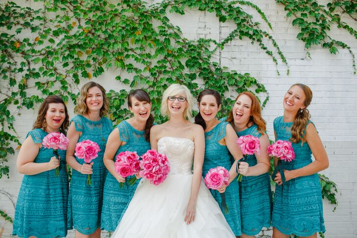 "To match the vibrancy of the wedding's theme and palette, Risa had her bridesmaids don matching teal summer dresses from Anthropologie with their choice of accessories. ""I didn't want anyone to stress out about the cost of being in a wedding and planning showers and bachelorettes, so I gave them their dresses, hair, makeup and necklaces,"" Risa says. ""Since the dresses were sale items, I ran all over the city snatching up every size and also ordered a few through their website to make sure the girls wouldn't have to do this themselves."""