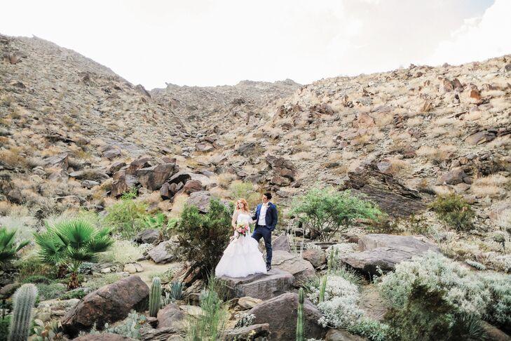 Katie and Brian wed in the fall at Colony 29 in Palm Springs, California, among the scenic foothills of the San Jacinto Mountains, which provided a stunning natural backdrop that contrasted beautifully with green succulents and cacti.