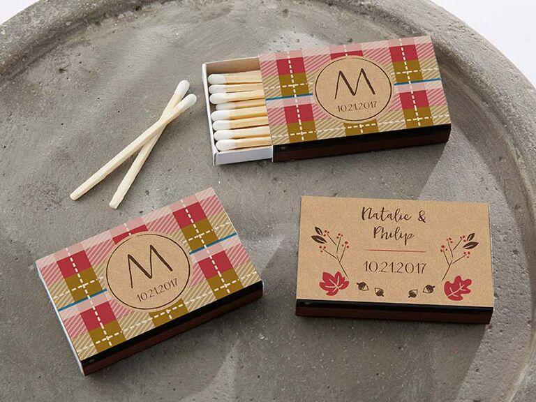 Plaid matchboxes fall wedding favors