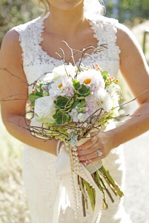 Natural Twig and Pearl Bridal Bouquet