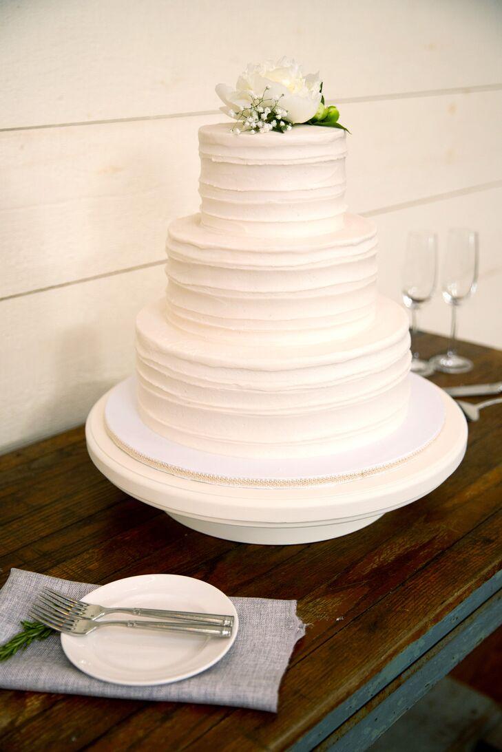 Simple White,Tiered Wedding Cake