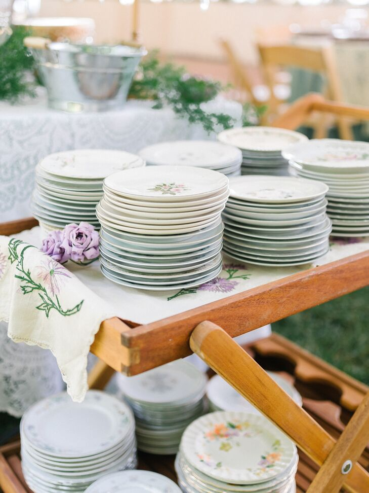 Vintage Mismatched China at Backyard Reception