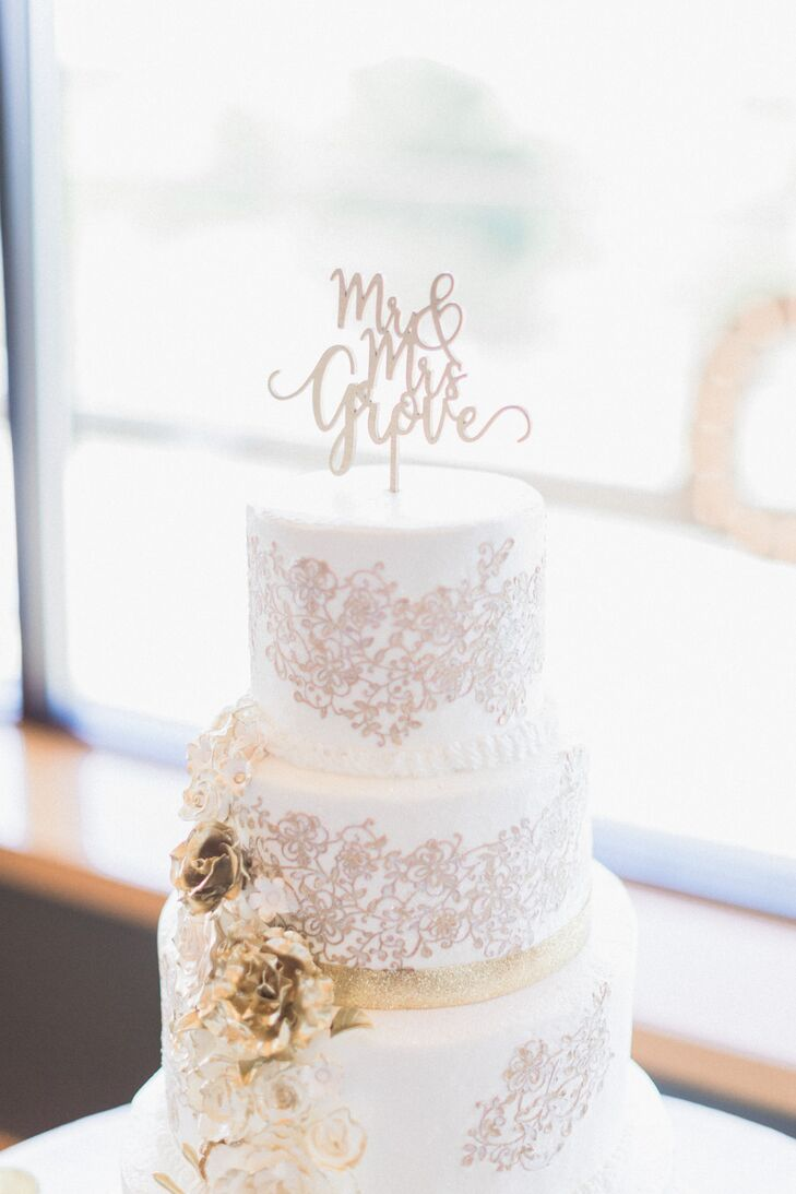 Wedding Cake with Metallic Floral Piping