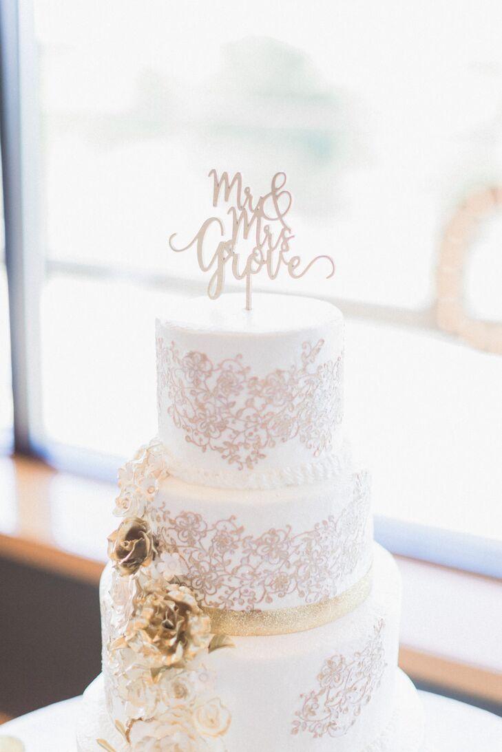 Wedding Cake with Metallic Floral Piping