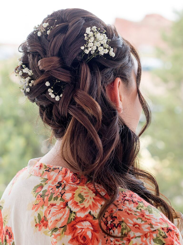 Boho braid bridesmaid hairstyle with curls and baby's breath