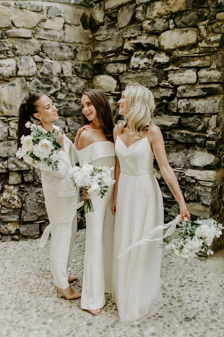 Wedding Party in White Jumpsuit and Gown