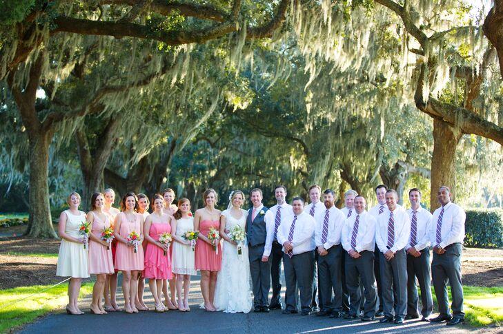 Mixed Pink and Coral Bridesmaid Dresses
