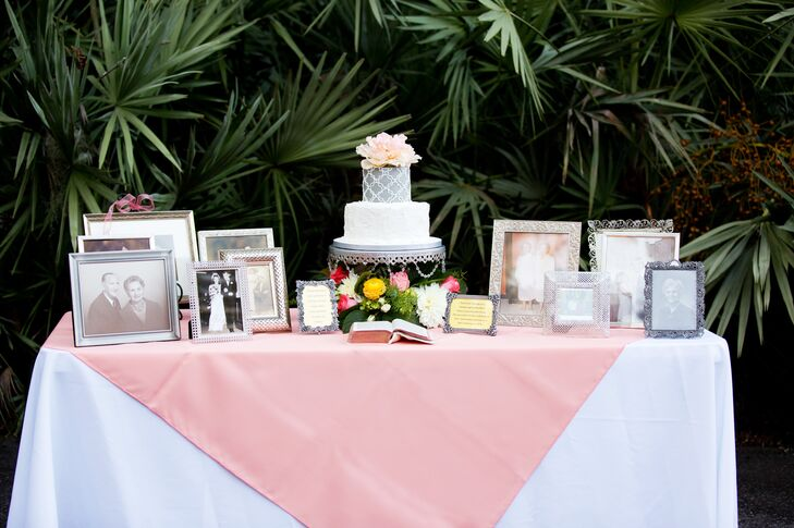 Family Photo and Cake Display Table