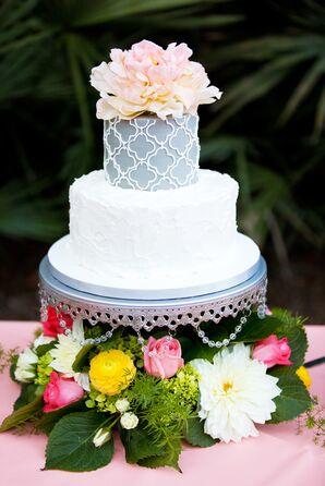 White and Gray Damask Wedding Cake