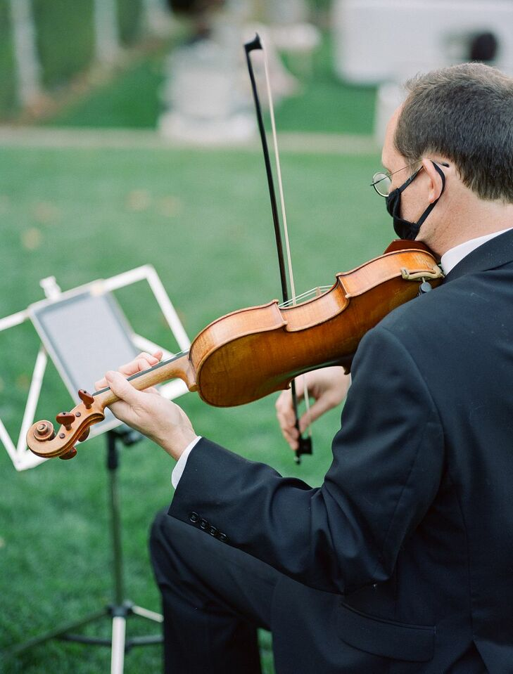 Violin Player During Ceremony at Filoli Historic House and Garden in Woodside, California