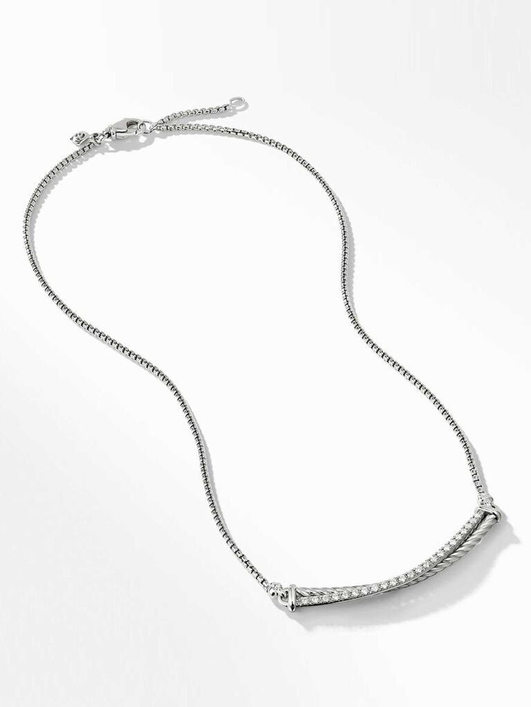 Rope silver bridal necklace