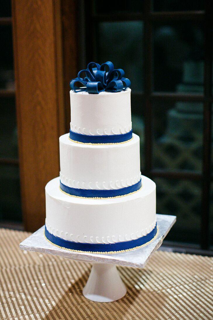 Navy Blue and White Buttercream Wedding Cakes