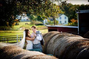 Bride and Groom Amongst Hay Barrels