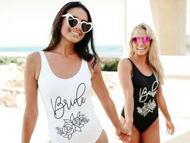 black and white bride and babe swimsuits