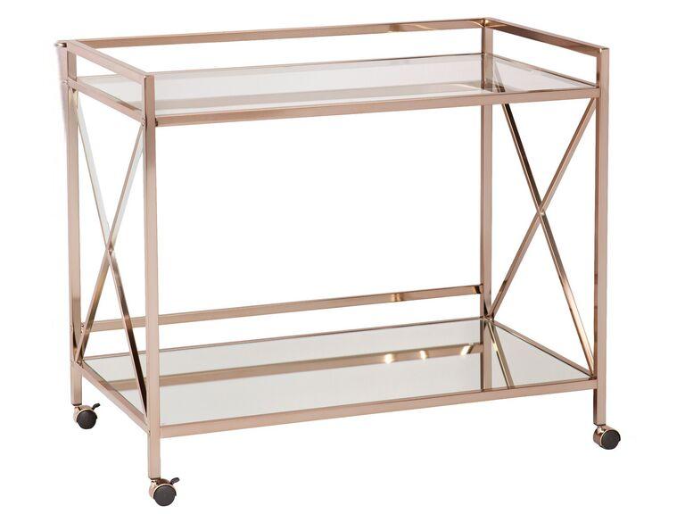 metallic bar cart