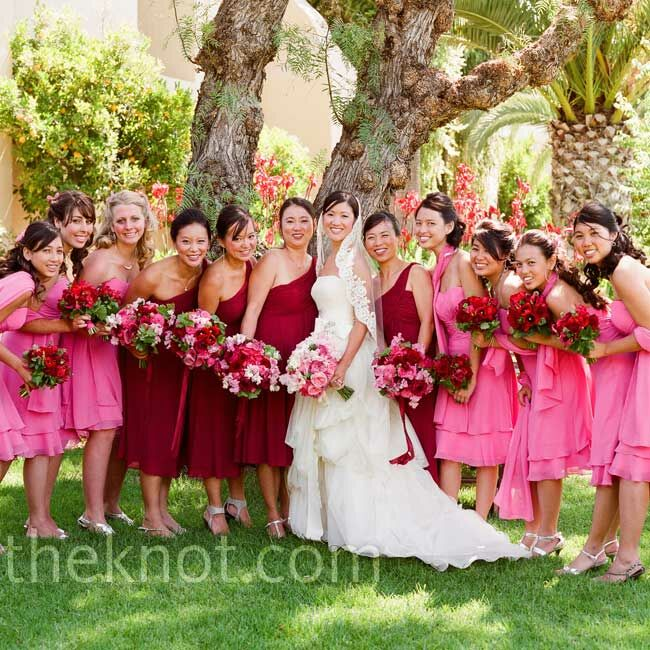 Red And Pink Dresses Favorite While The Bridesmaids Wore One Shoulder In Merlot Junior Stood Out