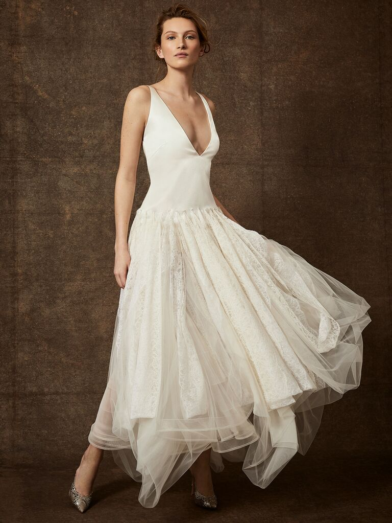Danielle Frankel Spring 2020 Bridal Collection drop-waist V-neck A-line wedding dress