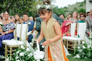 Flower Girl Dressed in Gold and Orange with Flower Crown