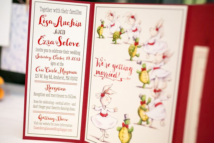 """Lisa also designed the invitation suite for the wedding. """"Neither Ezra nor I are particularly serious; we're fairly silly people and our invitations reflected that,"""" Lisa says. """"I designed the save-the-date card without much thought toward the invitations. Ezra's favorite animal is a turtle and I am partial to bunnies, so I used that as inspiration for the card. When it came time to design the invitations, it seemed right to continue using the turtle and bunny."""""""