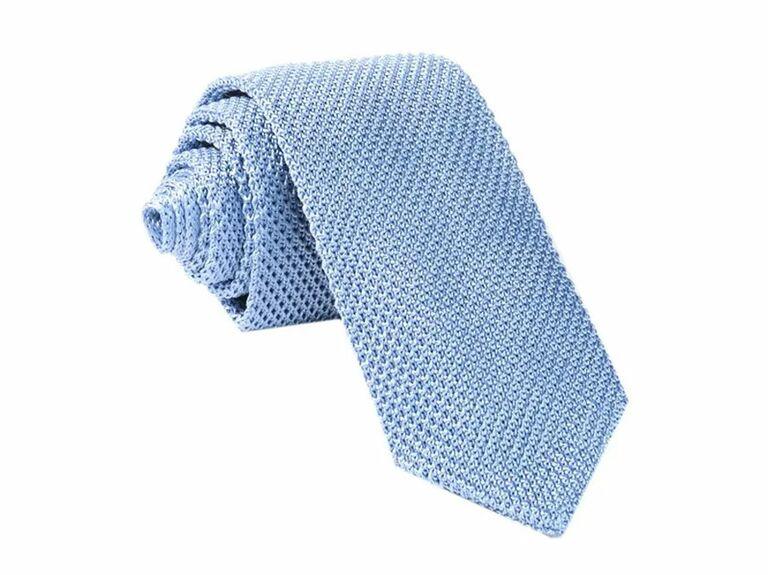 Sky blue silk knit tie