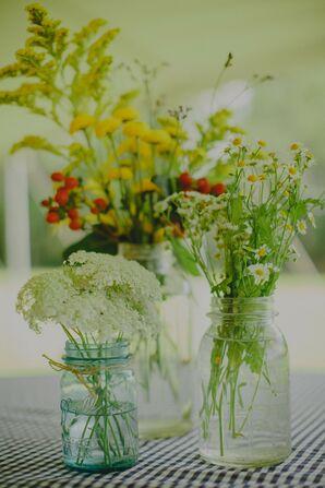 Mixed Wildflower Mason Jar Centerpieces