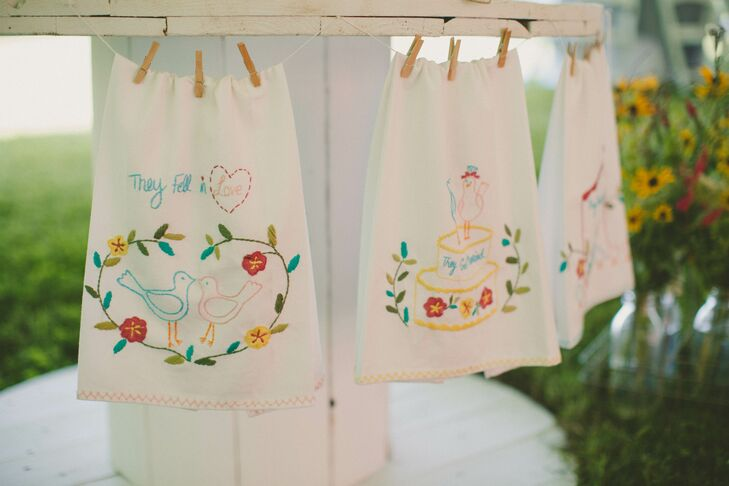 Rustic Hanging Embroidered Handkerchief Decor