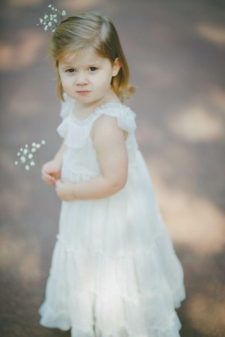 Adorable Rustic White Flower Girl Dress