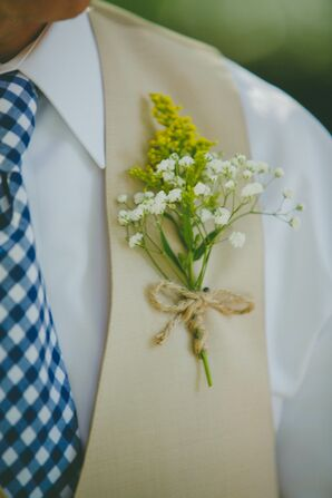 Golden Rod and Twine Boutonniere with Gingham Tie