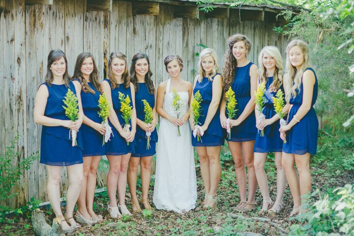 """The bridesmaids dresses were from Forever21, not your traditional place to buy them, but with our simple wedding theme, I also wanted to find them simple dresses,"" says Jenna."