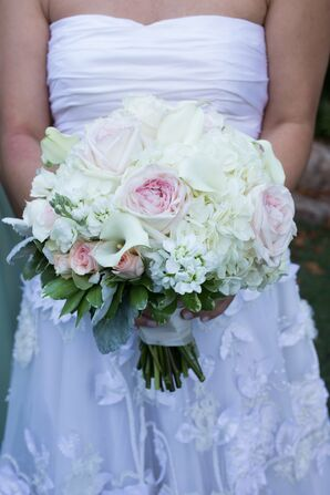 White and Light Pink Bridal Bouquet